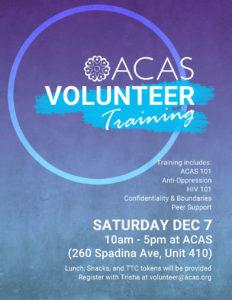 ACAS Volunteer Training on Dec 7 2019