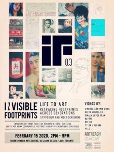 Poster for Invisible Footprints Symposium and Video Screening on Feb 15, 2pm - 9pm at the Toronto Media Arts Centre