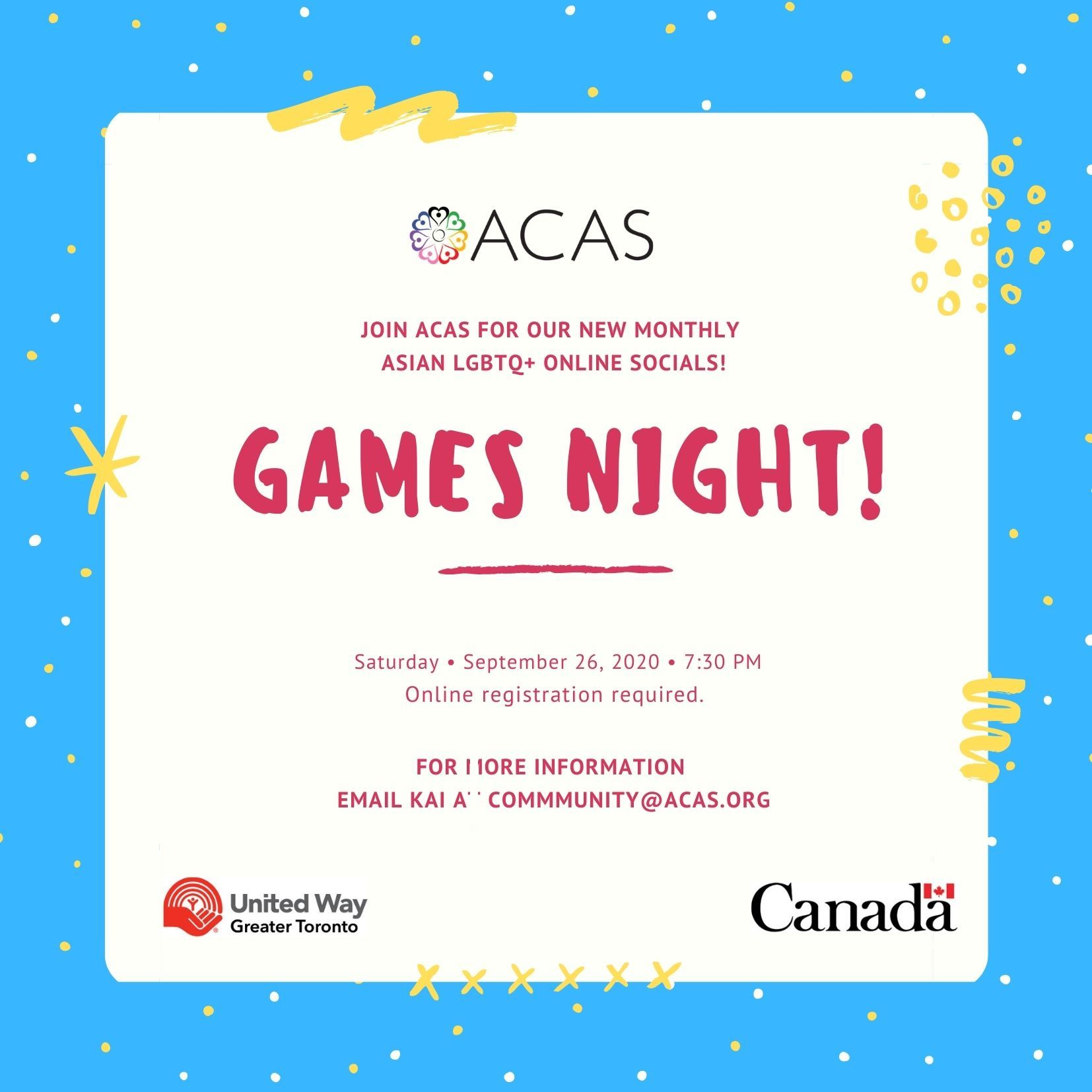 Poster for ACAS Asian LGBTQ+ Social - Games Night for September 26th from 7:30pm-9:00pm