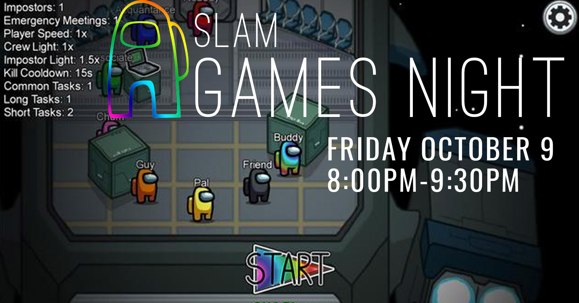 Poster for Men's Games Night on Oct 9