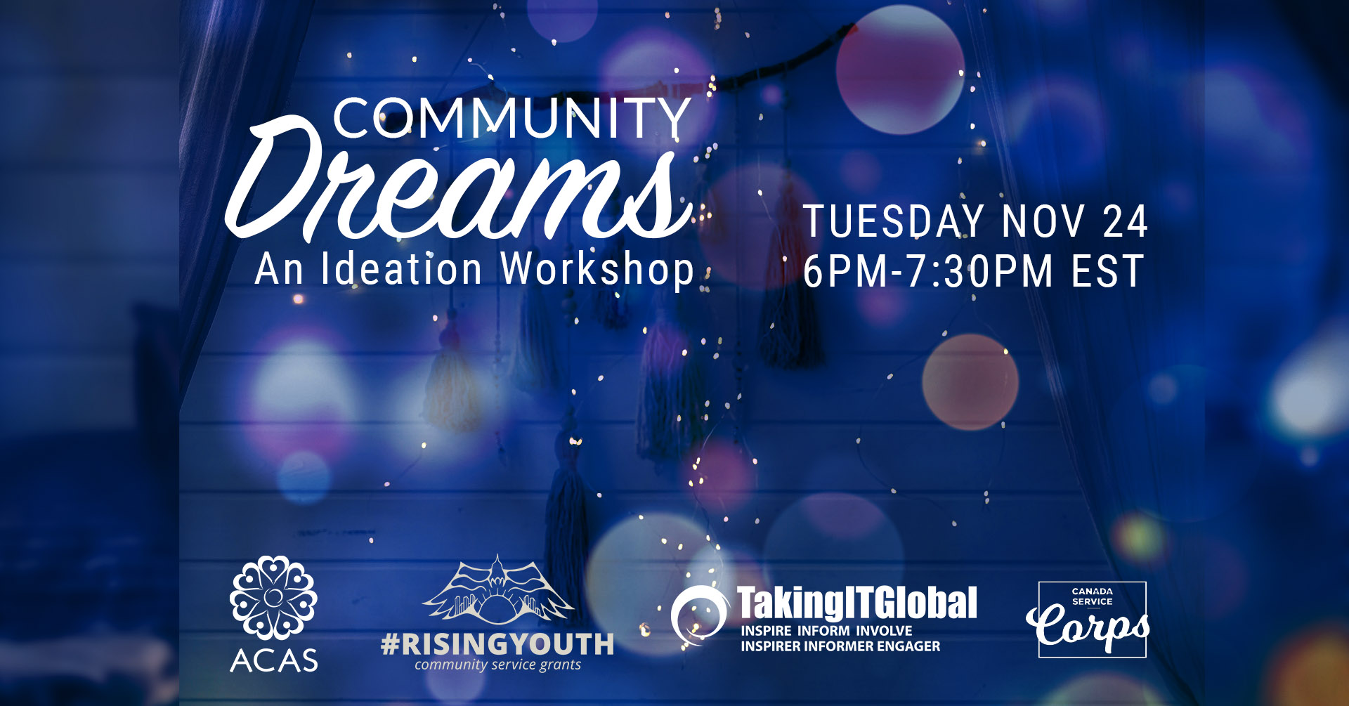Poster for Community Dreams RisingYouth Ideation Workshop