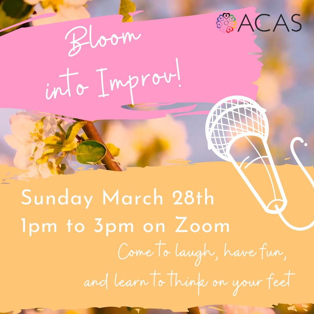 poster for QTAY bloom to improv workshop